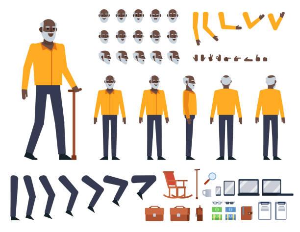 ilustrações, clipart, desenhos animados e ícones de preto velho no kit de criação de camisa amarela - landscape creation kit