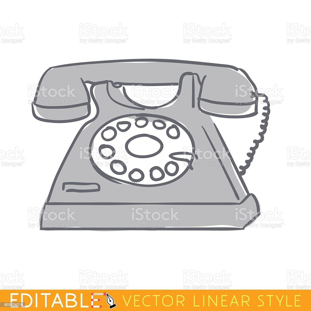 Old black phone. Editable outline sketch icon. vector art illustration