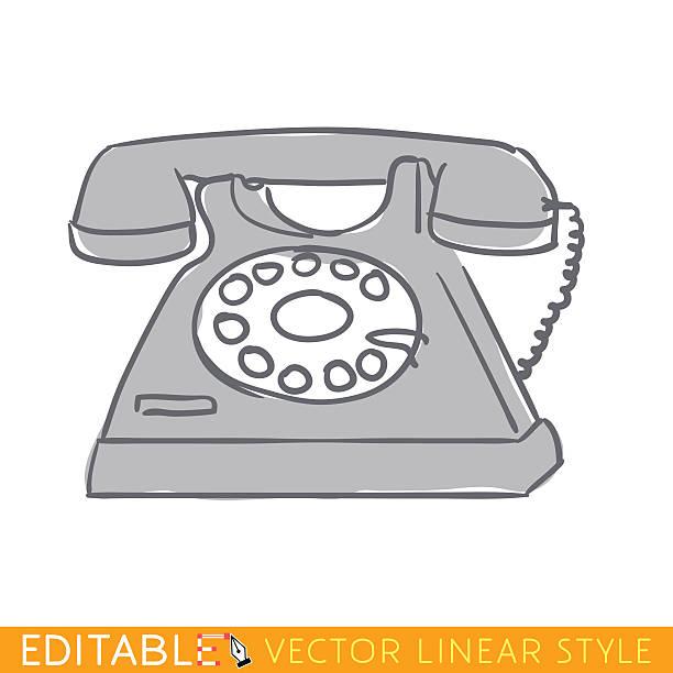 Old black phone. Editable outline sketch icon. vector art illustration