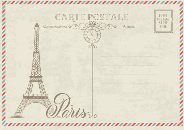 Old blank postcard. Old blank postcard with post stamps and eiffel tower with spring flowers on the top. Vector illustrtion. eiffel tower stock illustrations