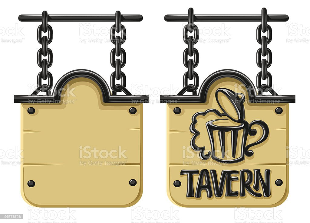 Old blank wooden sign with decorative forging vector art illustration