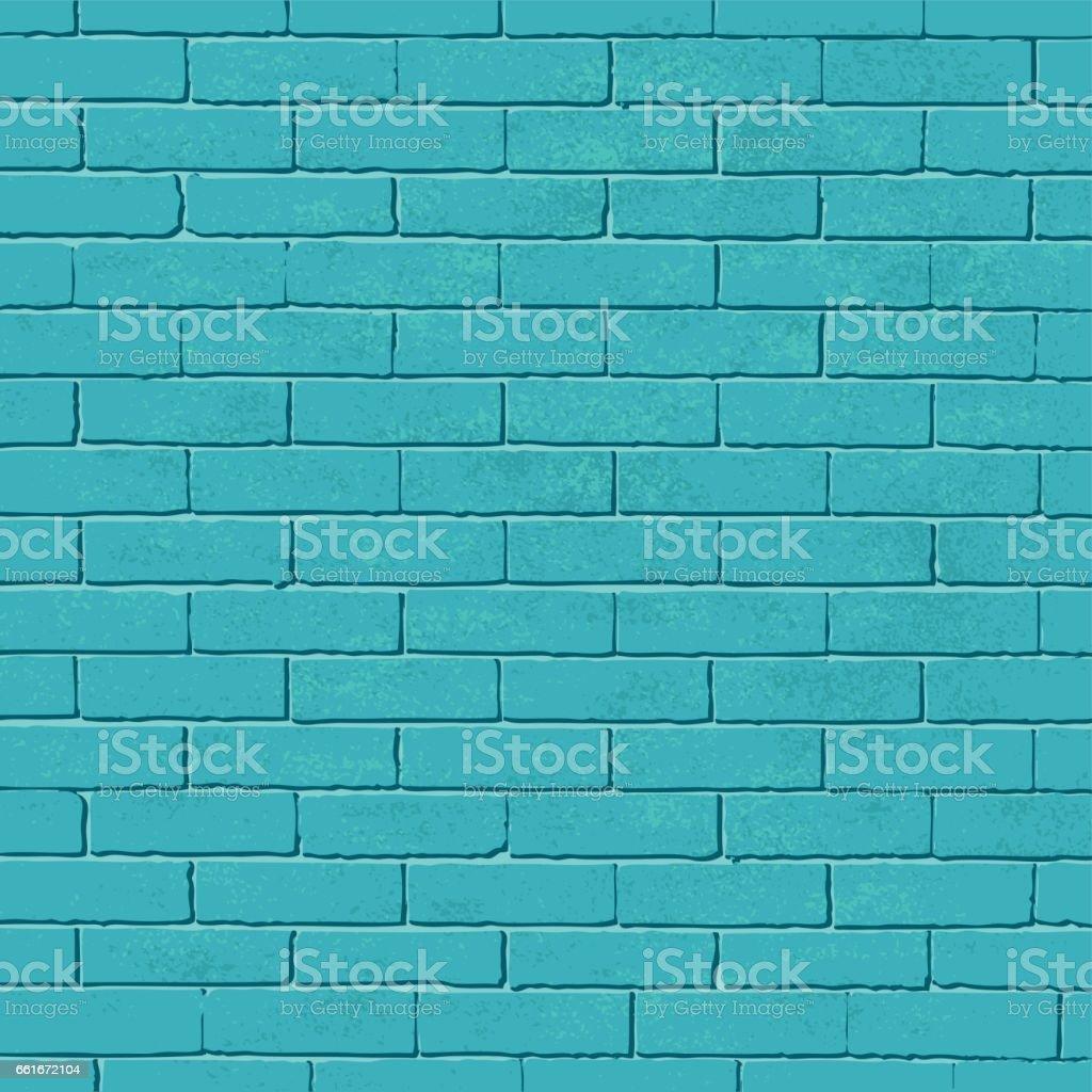 Old blue brick wall vector background - ilustração de arte em vetor