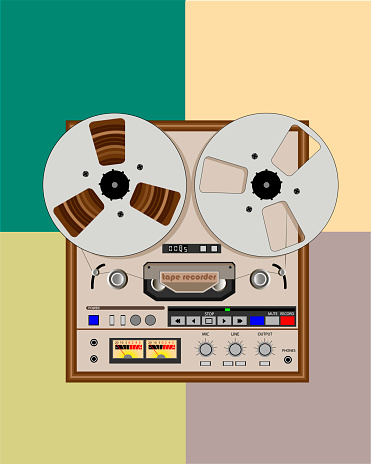old bobbin tape recorder with reels
