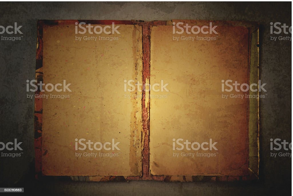 Old book on grungy background vector art illustration