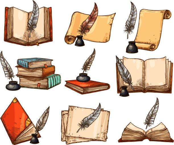 ilustrações de stock, clip art, desenhos animados e ícones de old book, paper scroll and feather pen sketch set - tinteiro