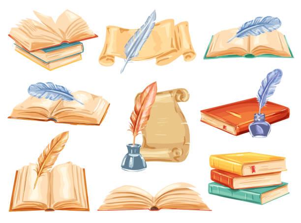 ilustrações de stock, clip art, desenhos animados e ícones de old book, paper scroll and feather pen watercolor - tinteiro