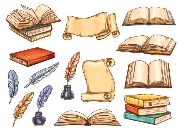 ilustrações de stock, clip art, desenhos animados e ícones de old book, scroll and vintage feather pen sketch - tinteiro