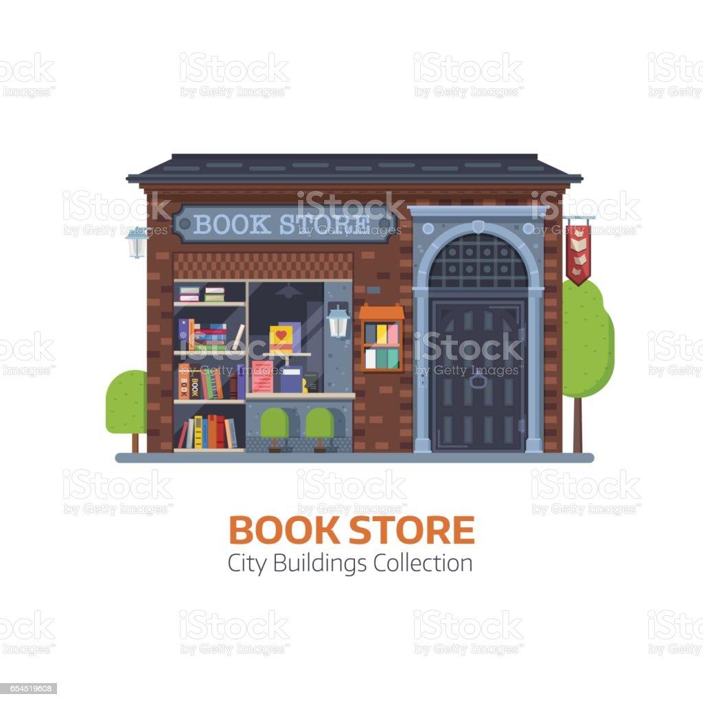Old Book Shop Building Facade vector art illustration