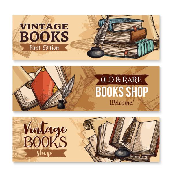 stockillustraties, clipart, cartoons en iconen met oud boek met veren pen en inktpotje banner instellen - stekels