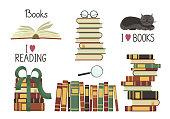 Old books set.