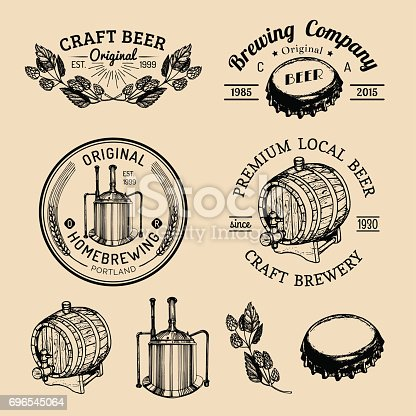 Old brewery badges set. Kraft beer retro signs or icons with hand sketched glass, barrel, bottle, mug, kettle, herbs and plants. Vector vintage homebrewing labels.