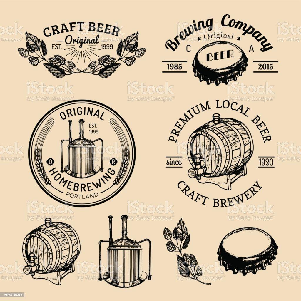 Old brewery emblems set. Kraft beer retro signs with hand sketched glass, barrel etc. Vector vintage homebrewing badges. vector art illustration
