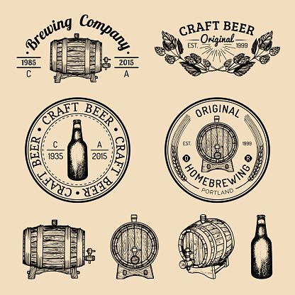 Old brewery symbols set. Kraft beer retro signs with hand sketched barrel,bottle,herbs and plants. Vector lager,ale badges