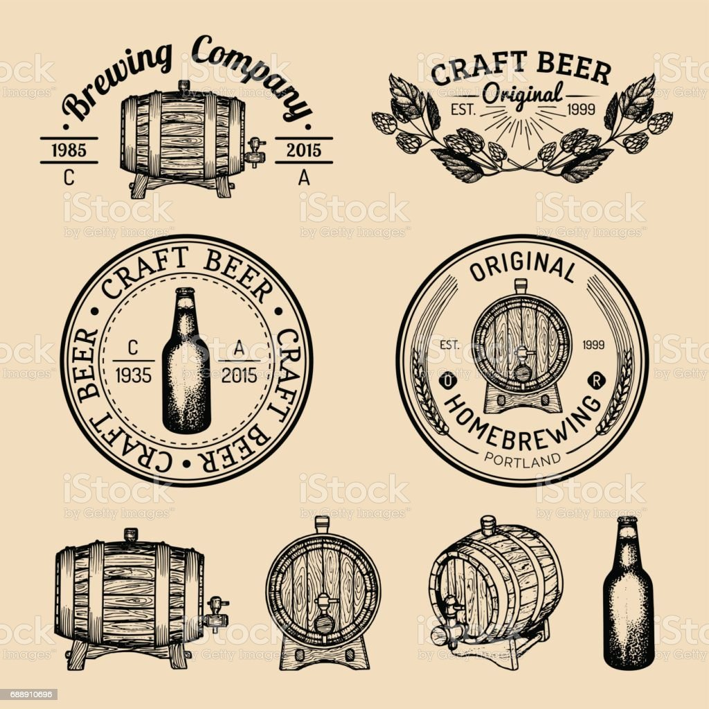 Old brewery symbols set. Kraft beer retro signs with hand sketched barrel,bottle,herbs and plants. Vector lager,ale badges vector art illustration