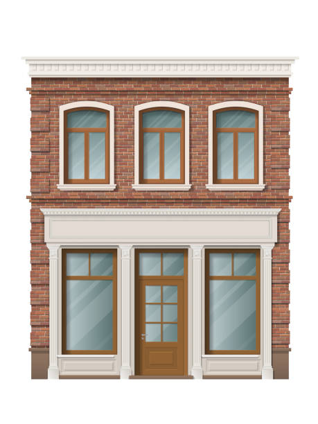 old brick residential building facade Old brick building facade with windows and shop on ground floor. Traditional classic architecture of front building. Storefront with large windows on the ground floor. facade stock illustrations