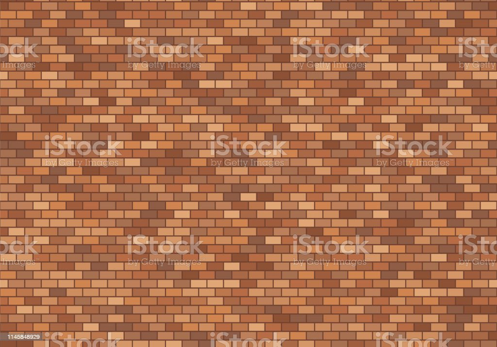Old brick wall background. Red bricks texture seamless pattern vector.
