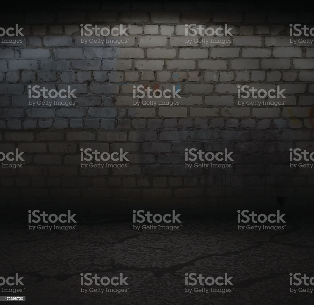 Old Brick Wall with Light vector art illustration