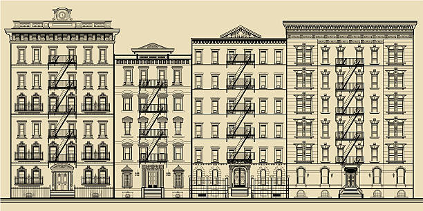 Old building and facades of new york vector art illustration