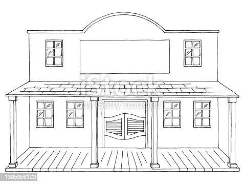 istock Old building wild west exterior graphic black white isolated sketch illustration vector 1305956120