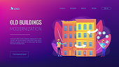 Residential house reconstruction, city renovation. Old buildings modernization, building up service, construction modernization solutions concept. Website homepage landing web page template.