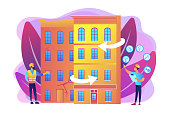 Residential house reconstruction, city renovation. Old buildings modernization, building up service, construction modernization solutions concept. Bright vibrant violet vector isolated illustration