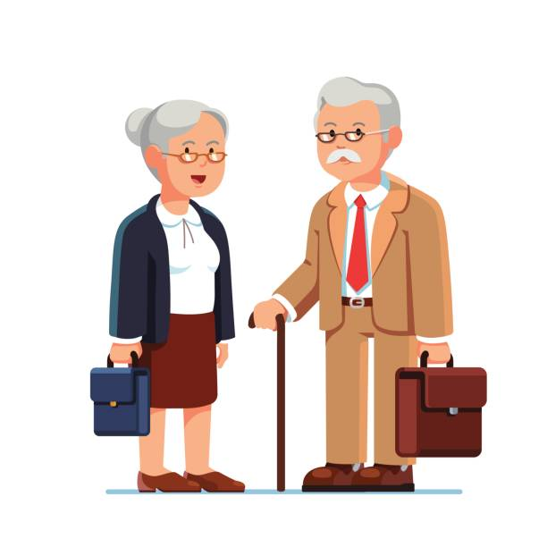 old business man and woman standing together - old man clipart stock illustrations, clip art, cartoons, & icons