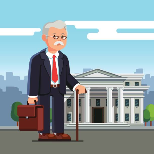 old business man standing in front of building - old man standing background stock illustrations, clip art, cartoons, & icons