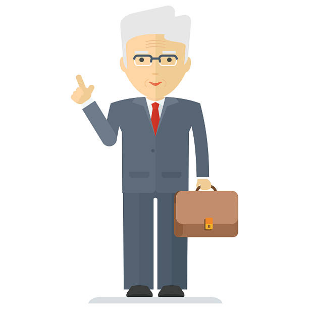 old business man - old man standing drawings stock illustrations, clip art, cartoons, & icons
