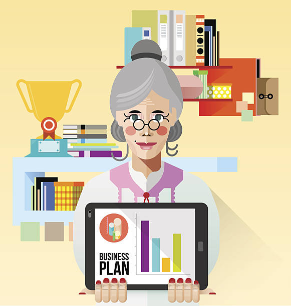 ilustrações de stock, clip art, desenhos animados e ícones de velha mulher de negócios com tablet vector - senior business woman tablet