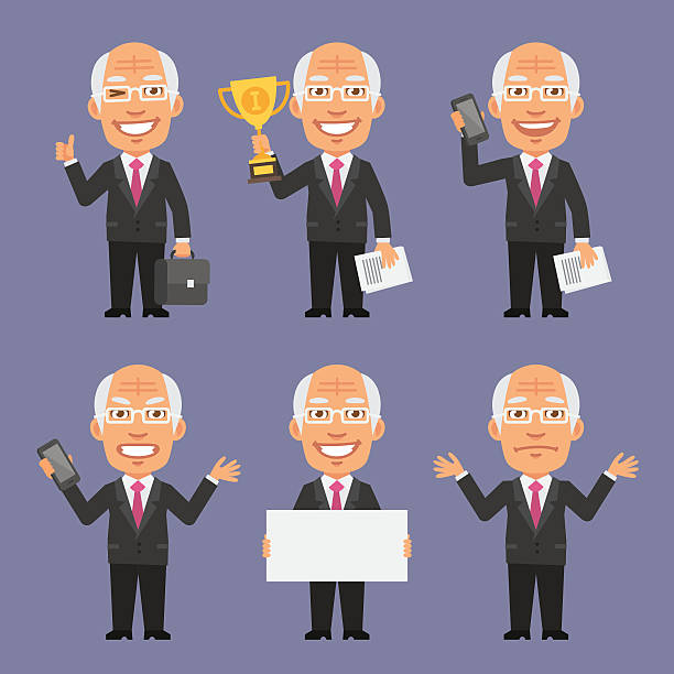 old businessman holding various objects part 1 - old man showing thumbs up cartoons stock illustrations, clip art, cartoons, & icons