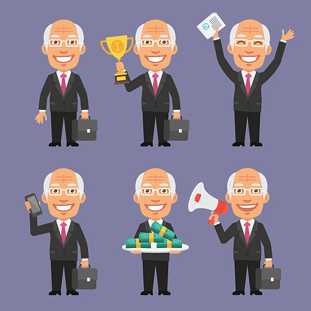 old businessman holding various objects part 2 - old man showing thumbs up cartoons stock illustrations, clip art, cartoons, & icons