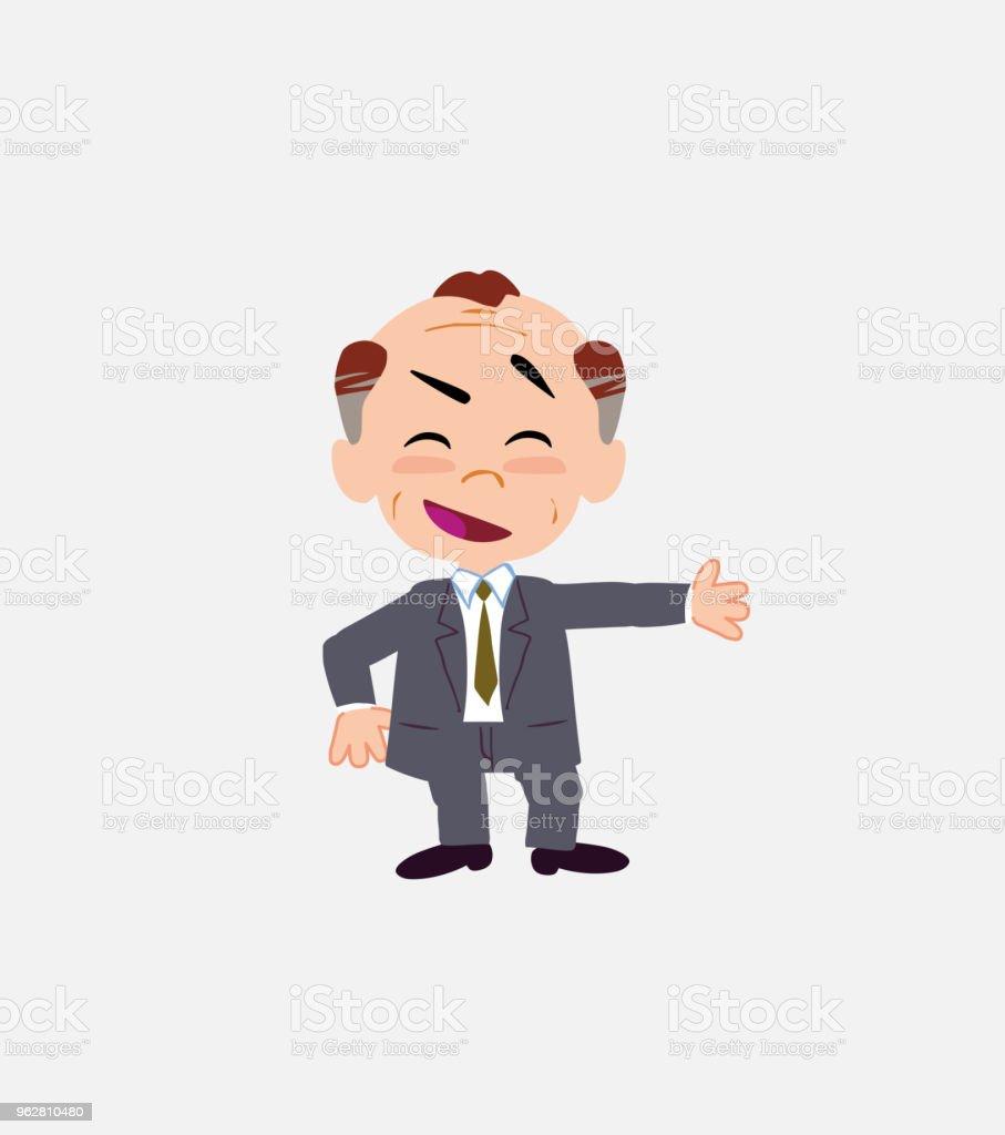 Velho empresário, mostrando de uma atitude positiva e otimista. - Vetor de Adulto royalty-free