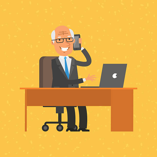 old businessman talking on phone - old man smile silhouette stock illustrations