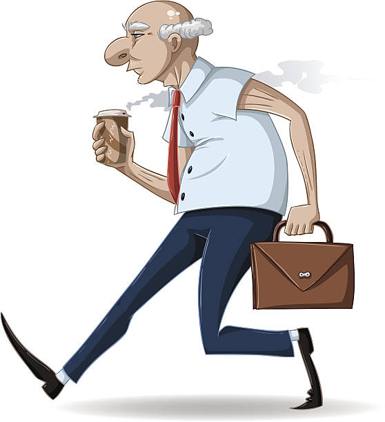 old businessman walks with briefcase and coffee - old man shoes stock illustrations, clip art, cartoons, & icons