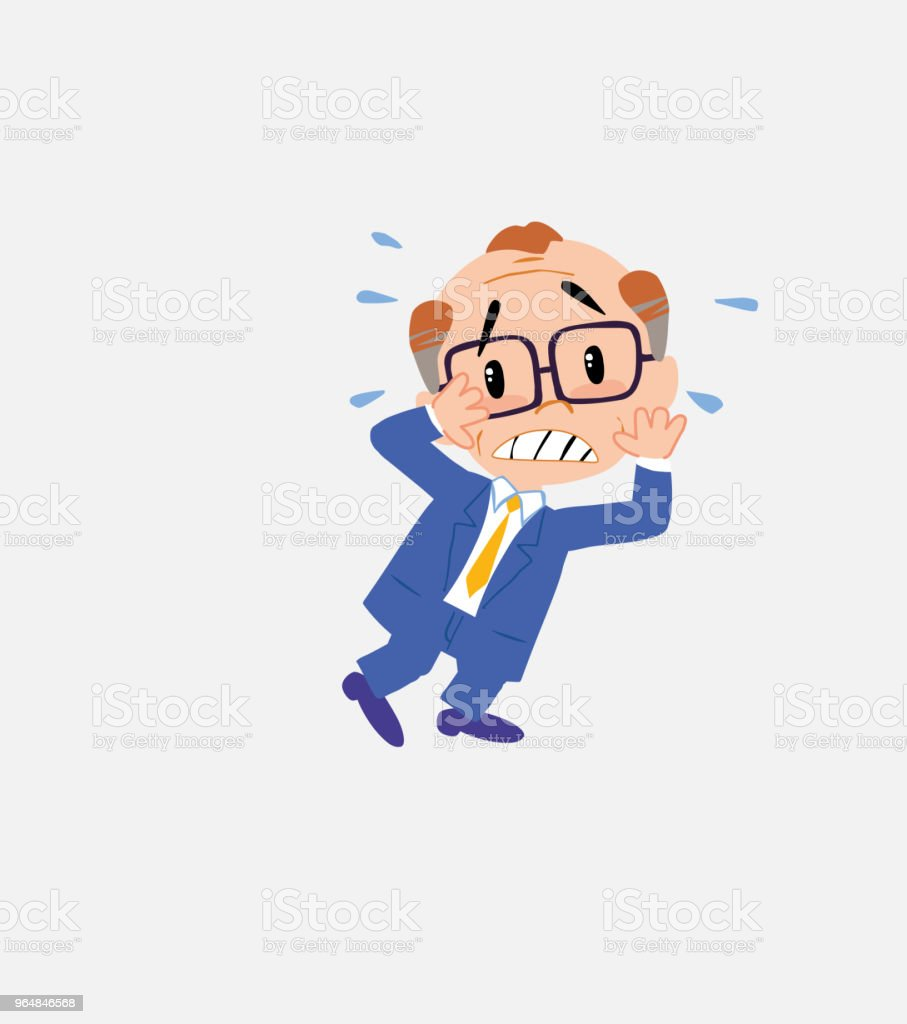 Old businessman with glasses very alarmed takes the hands to the head. royalty-free old businessman with glasses very alarmed takes the hands to the head stock vector art & more images of adult