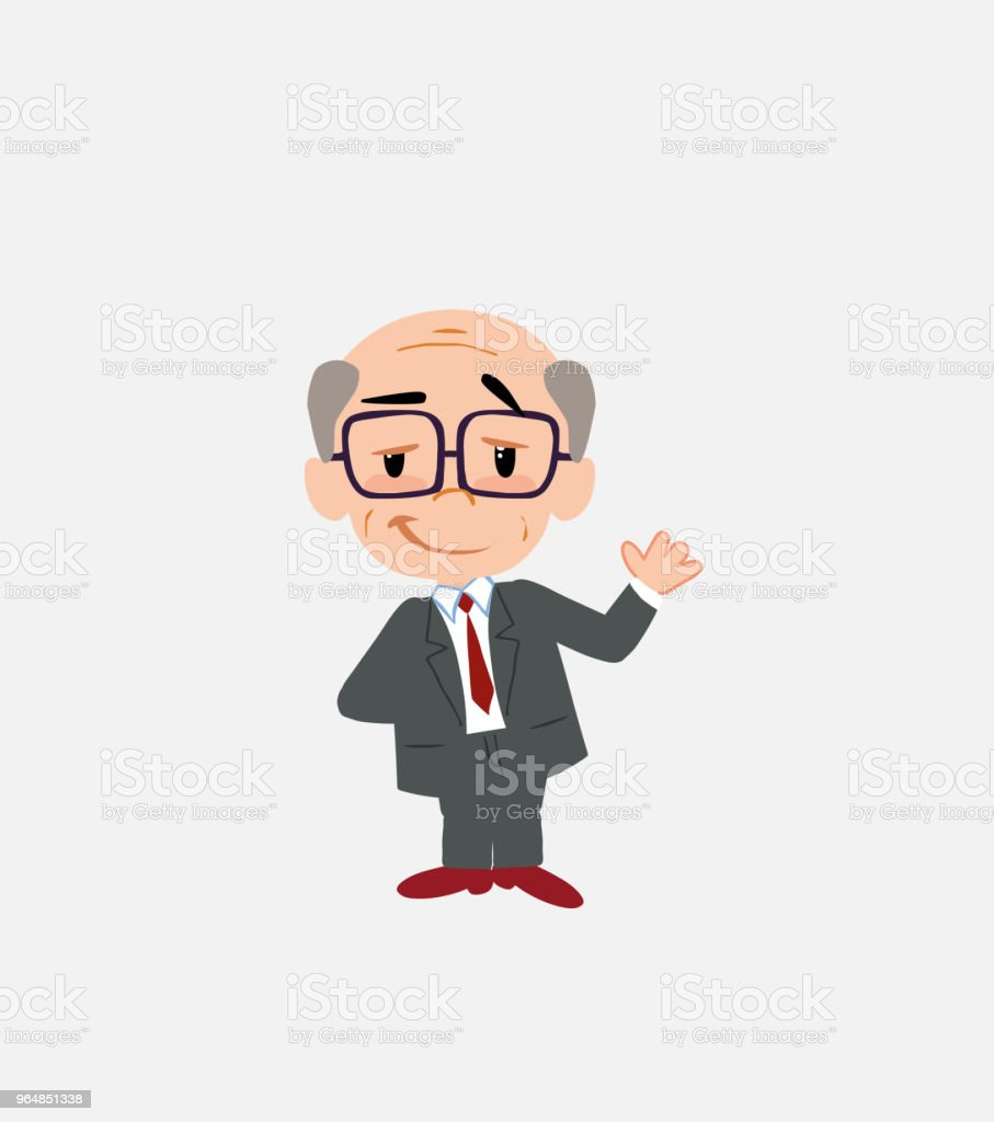 Old businessman with glasses waving with a dreamy expression. royalty-free old businessman with glasses waving with a dreamy expression stock vector art & more images of adult