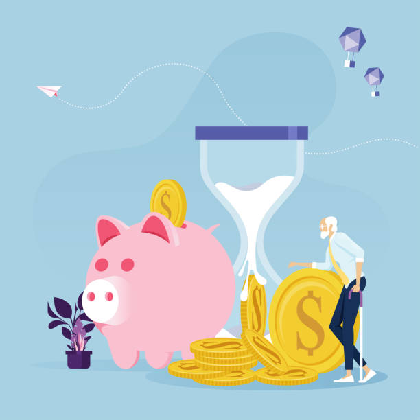 Old businessman with Retirement money-Financial plan concept Old businessman with Retirement money-Financial plan concept financial planning stock illustrations