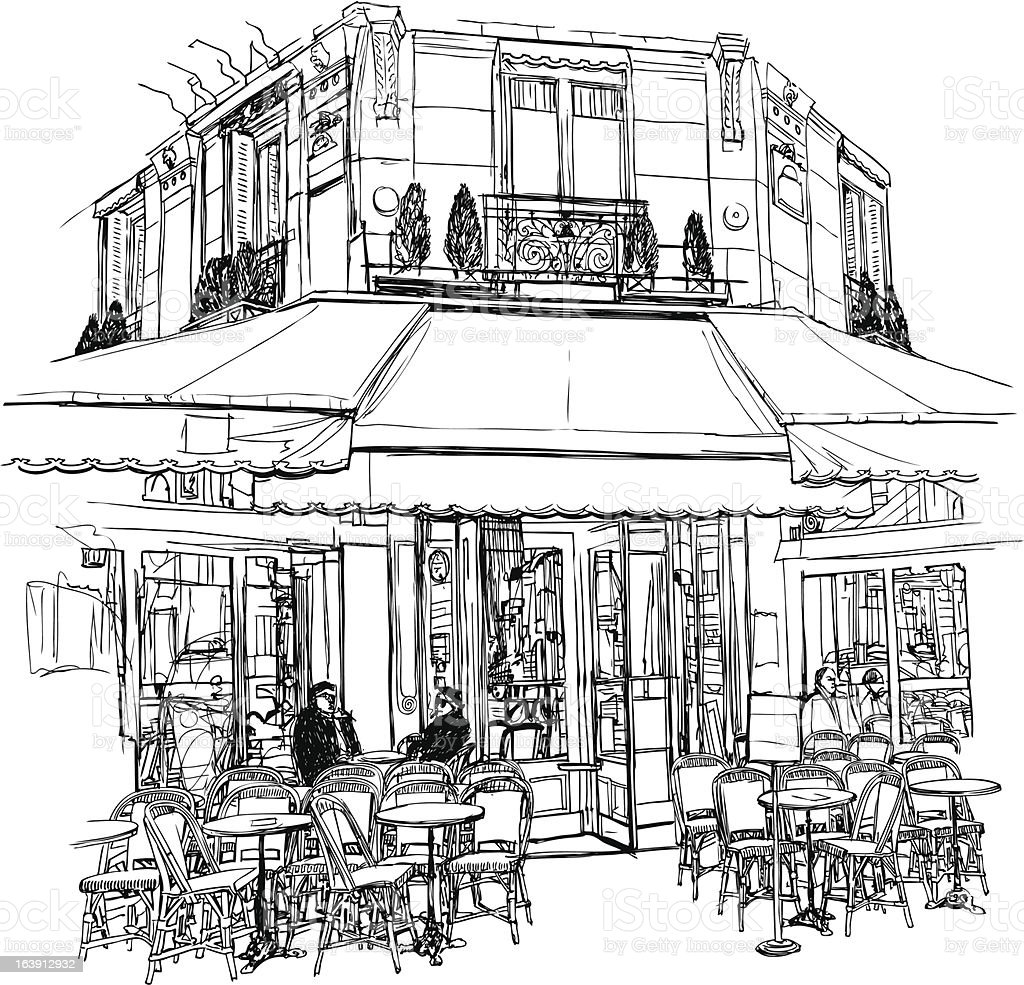 old cafe in Paris royalty-free stock vector art