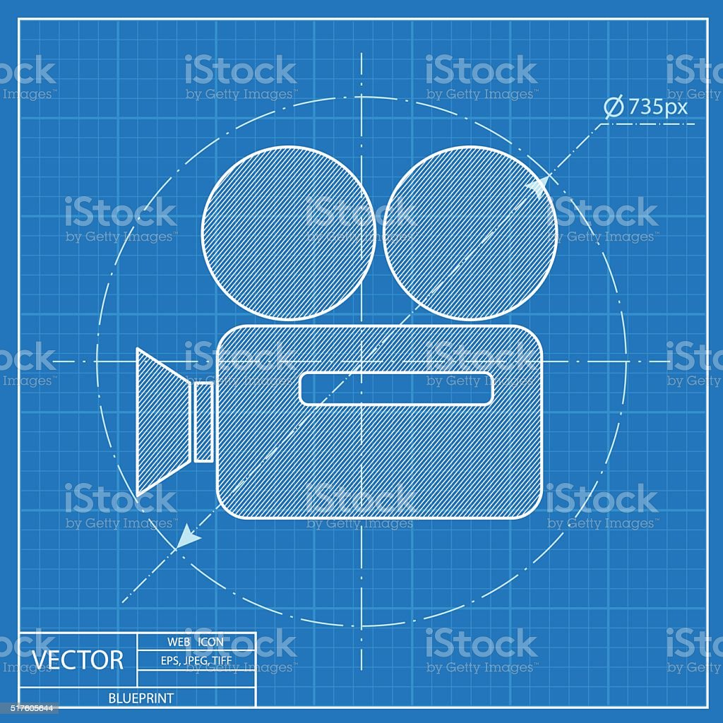 Old camera or projector blueprint icon stock vector art more old camera or projector blueprint icon royalty free old camera or projector blueprint icon stock malvernweather Images