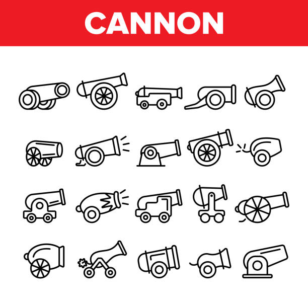 Old Cannons, Artillery Linear Icons Vector Set Old Cannons, Artillery Linear Icons Vector Set. Historic Weapon, War Cannons, Guns Thin Line Illustrations Pack. Ancient, Antique Firearm. Battlefield, Military Equipment Isolated Outline Symbols human limb stock illustrations