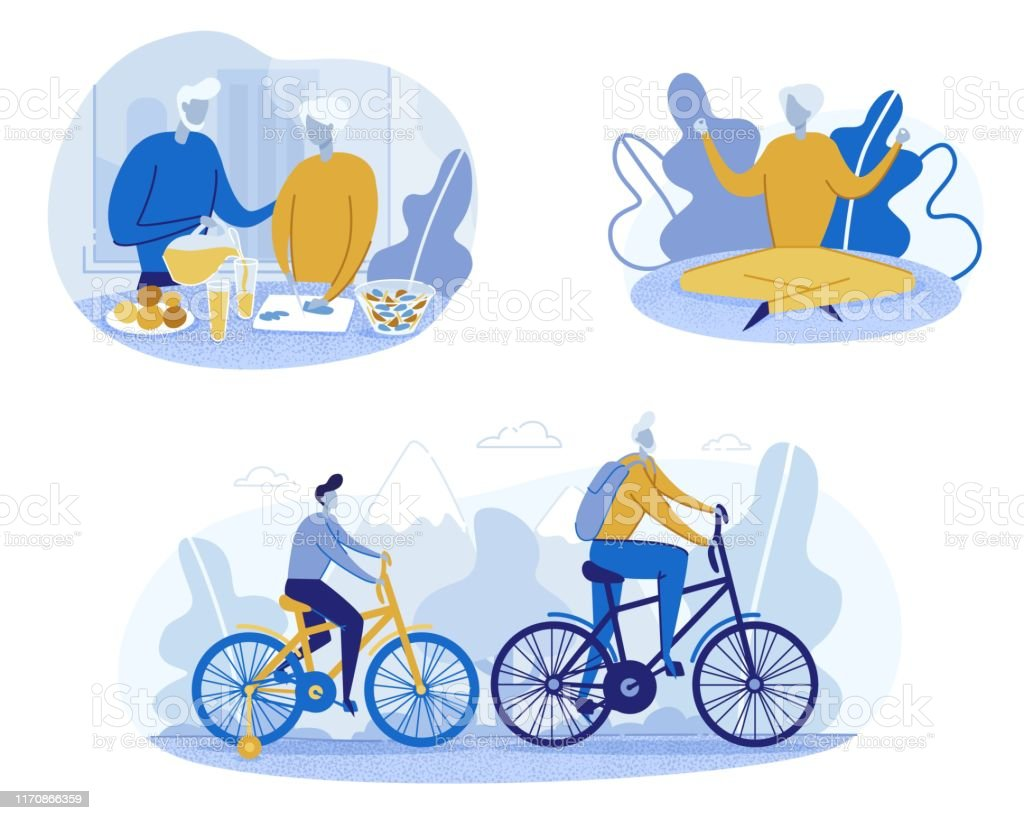 Old People Have Healthy Lifestyle Flat Cartoon Vector Illustration....