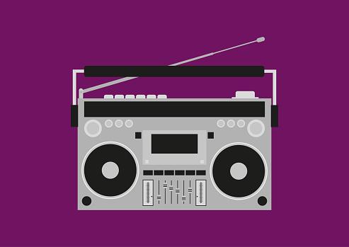 Old cassette recorder. Retro boombox. Vector illustration.