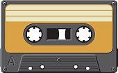 Old black cassette tape with orange label