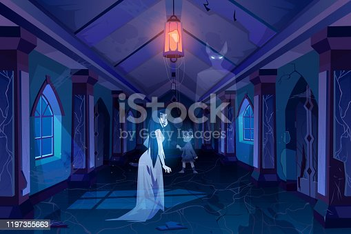 Old castle hall with ghosts walking in darkness. Scary corridor with doors and windows. Abandoned palace interior with moonlight falling on floor, halloween spooky scene. Cartoon vector illustration