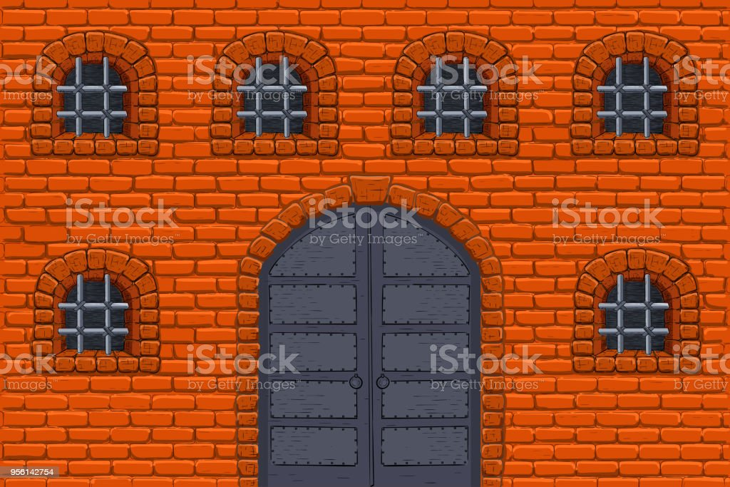 Old Castle Wall With Barred Windows And Metal Doors Colored Sketch Stock Vector Art u0026 More Images of Ancient 956142754 | iStock & Old Castle Wall With Barred Windows And Metal Doors Colored Sketch ...