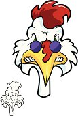 Adobe Illustrator cartoon of a chicken with sunglasses. This downlaod contains an AI CS2 file, as well as a high res RGB JPG file.