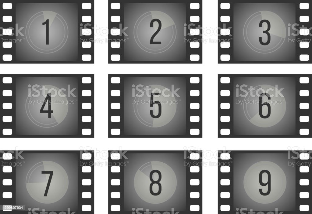 Old Cinema Film Countdown Movie Frames With Numbers Vector Set Stock ...