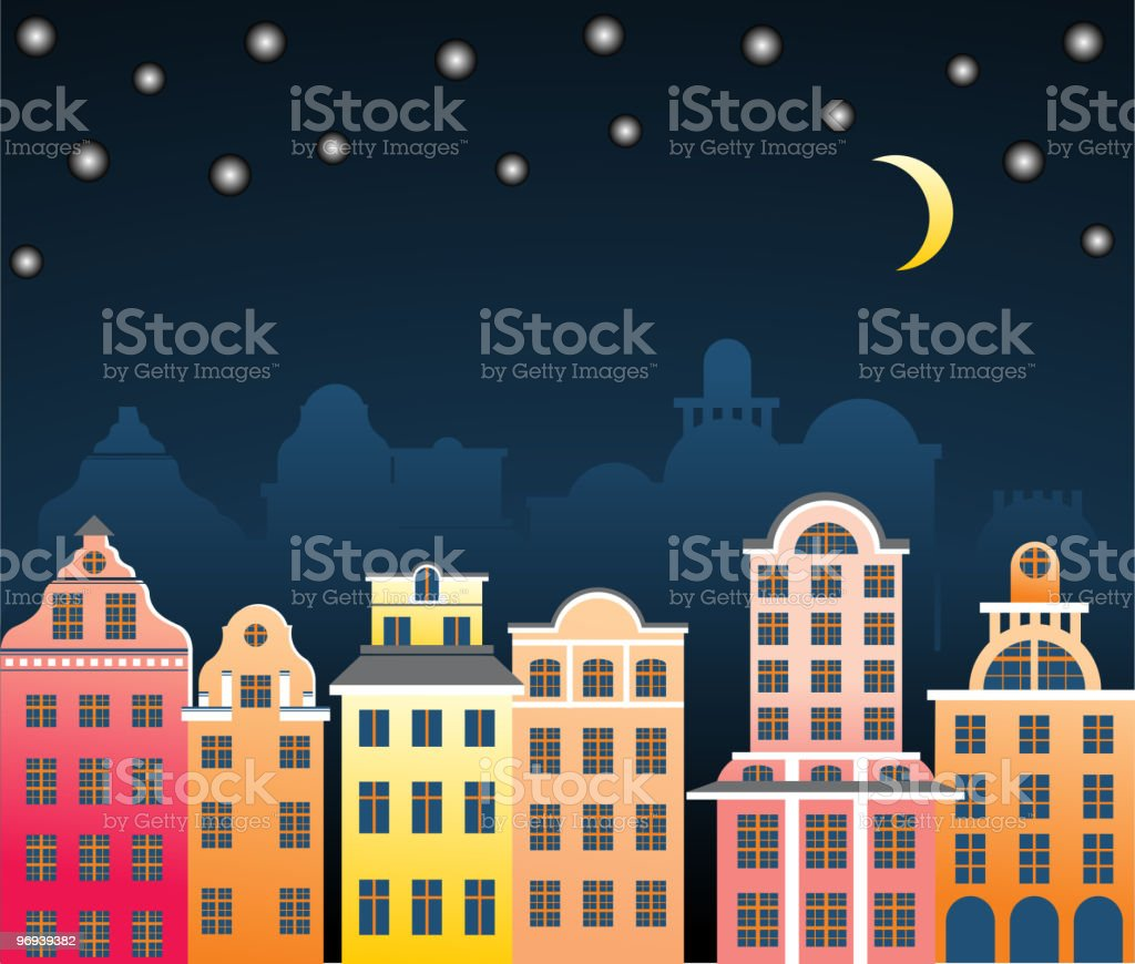 old city at night royalty-free old city at night stock vector art & more images of architecture