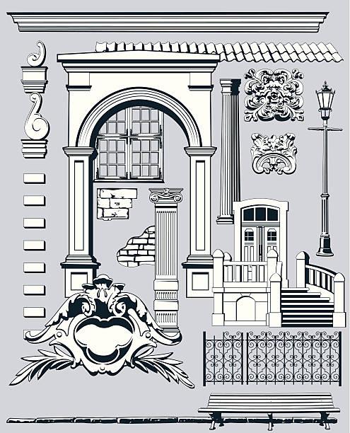 старый город элементы ii - карниз stock illustrations