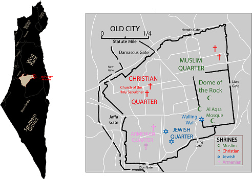 old city jerusalem map.the Old City has been divided into four uneven quarters. Muslim, Christian, Armenian and Jewish Quarters.israel map.